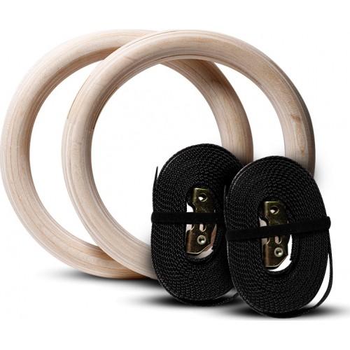 Ξύλινοι Κρίκοι Γυμναστικής με Ιμάντες MDS